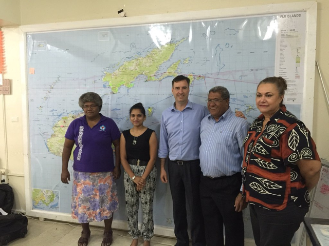 DFAT Humanitarian Coordinator Jaime Isbister meets with Fiji Red Cross officials.